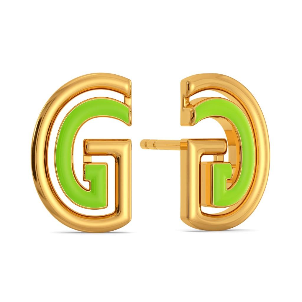 Green Grabs Gold Earrings