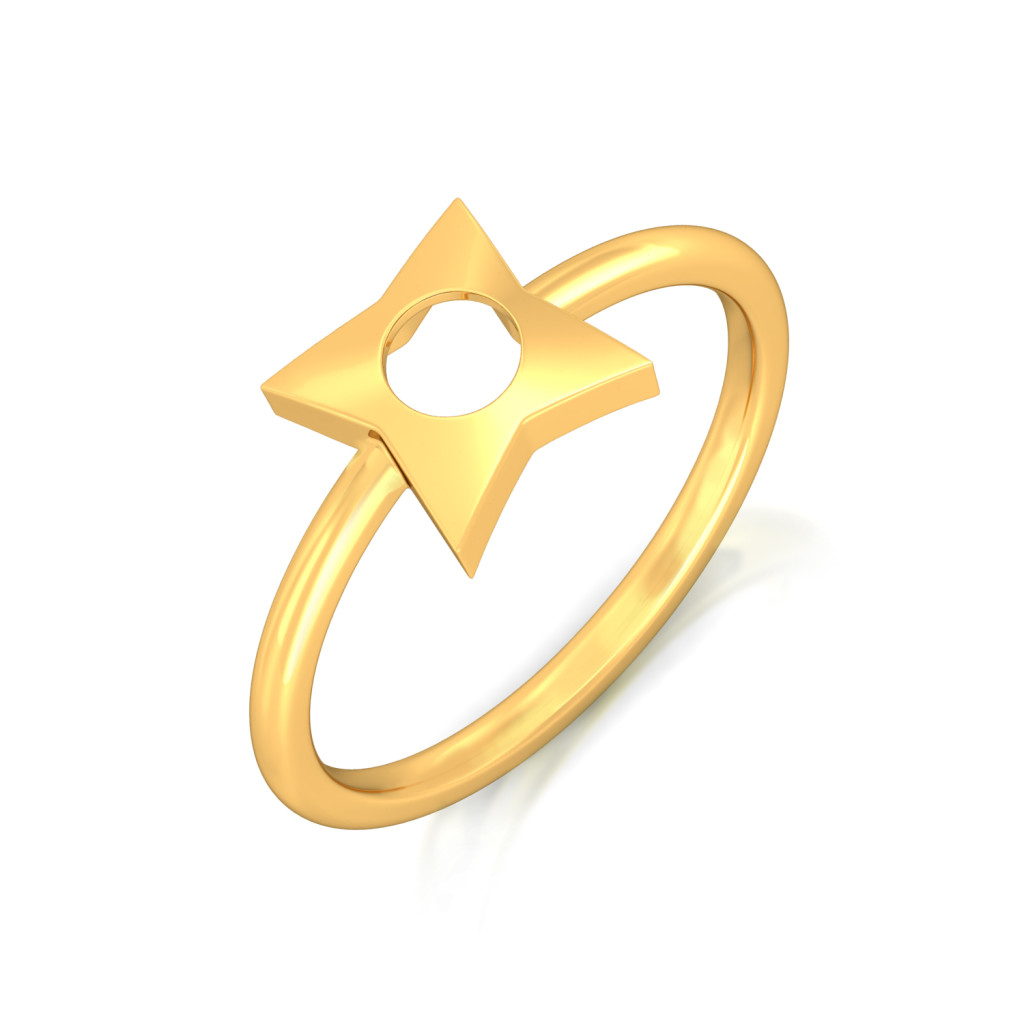 Star of Goth Gold Rings