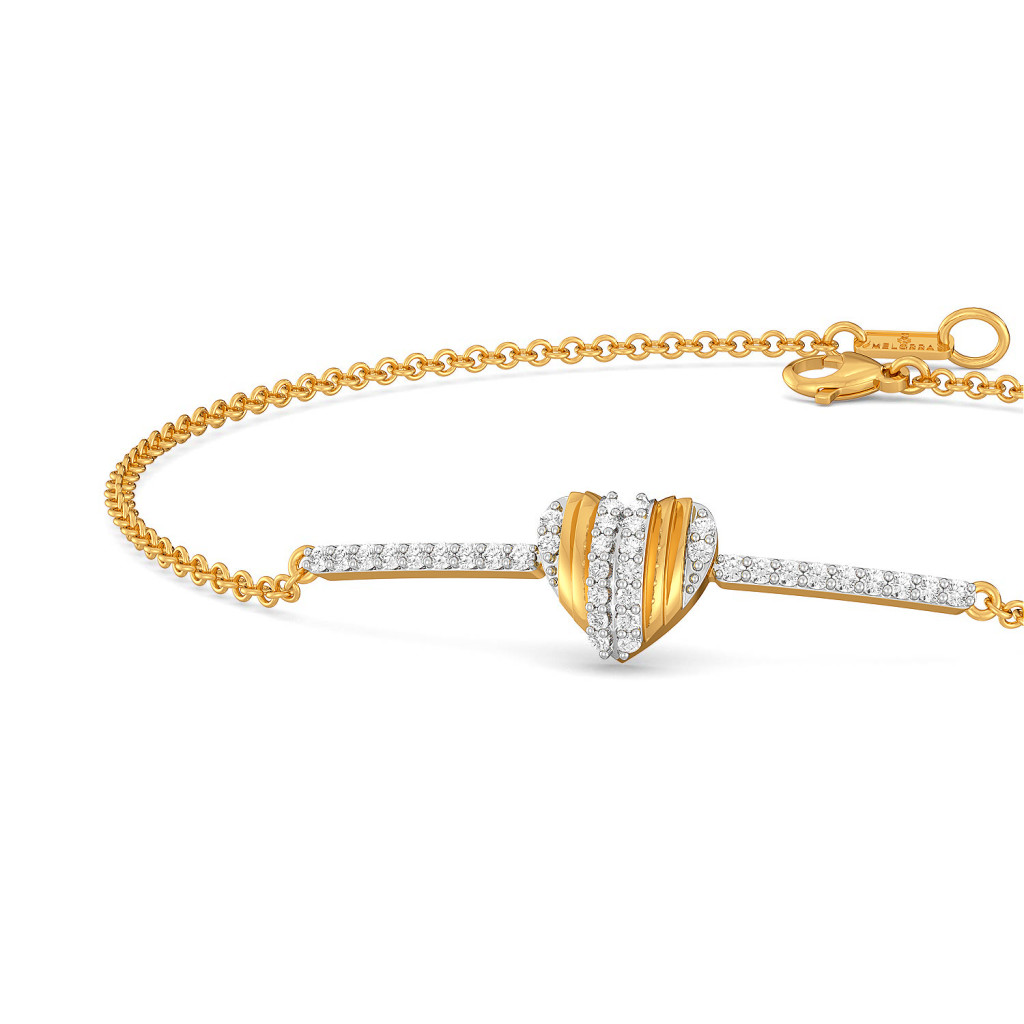 Pleats of Hearts Diamond Bracelets