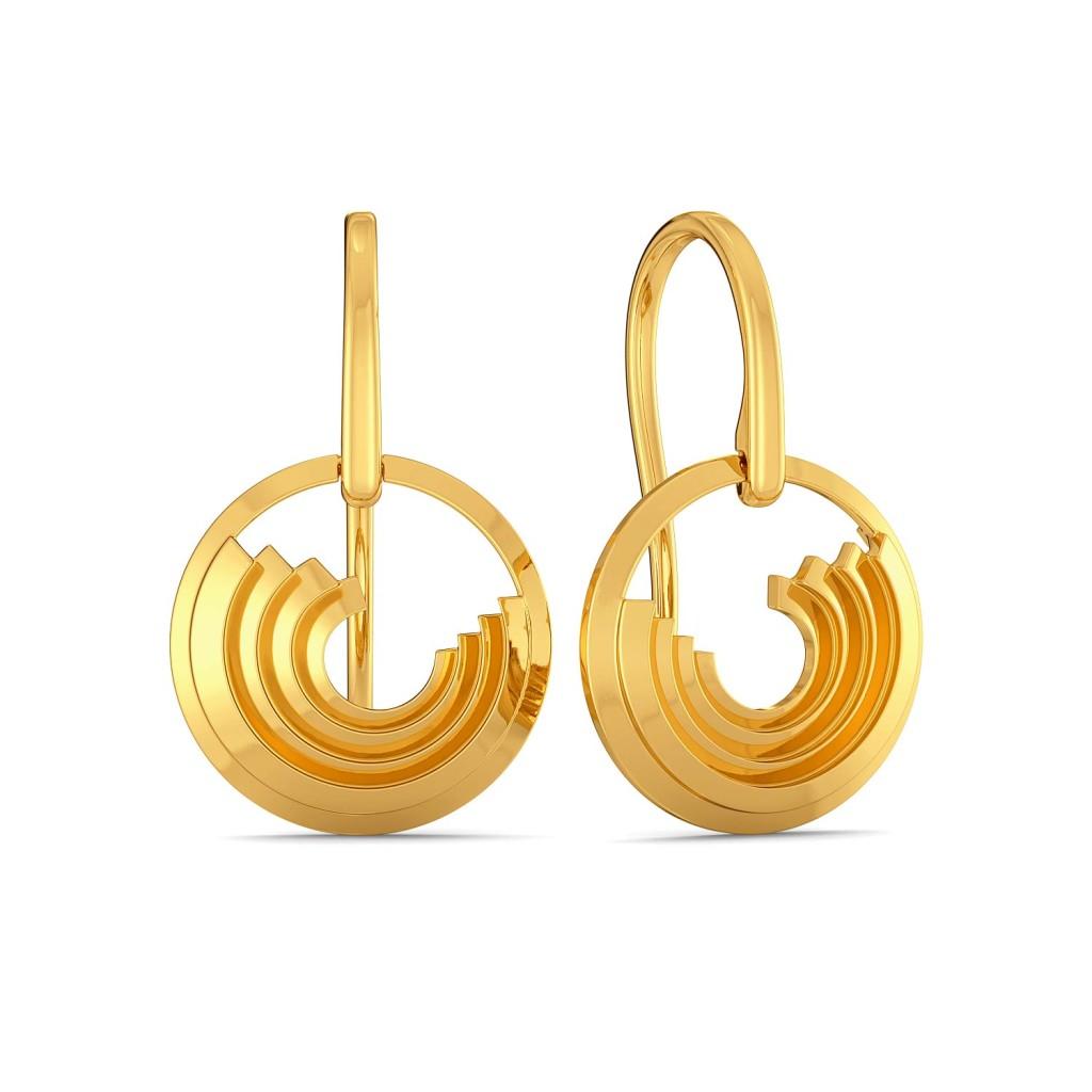 Triple Ripple Gold Earrings