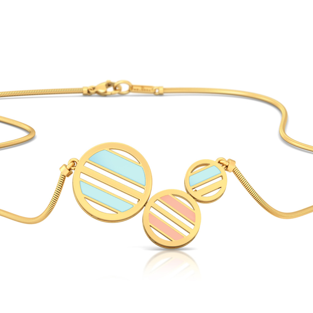 Striped Halo Gold Necklaces