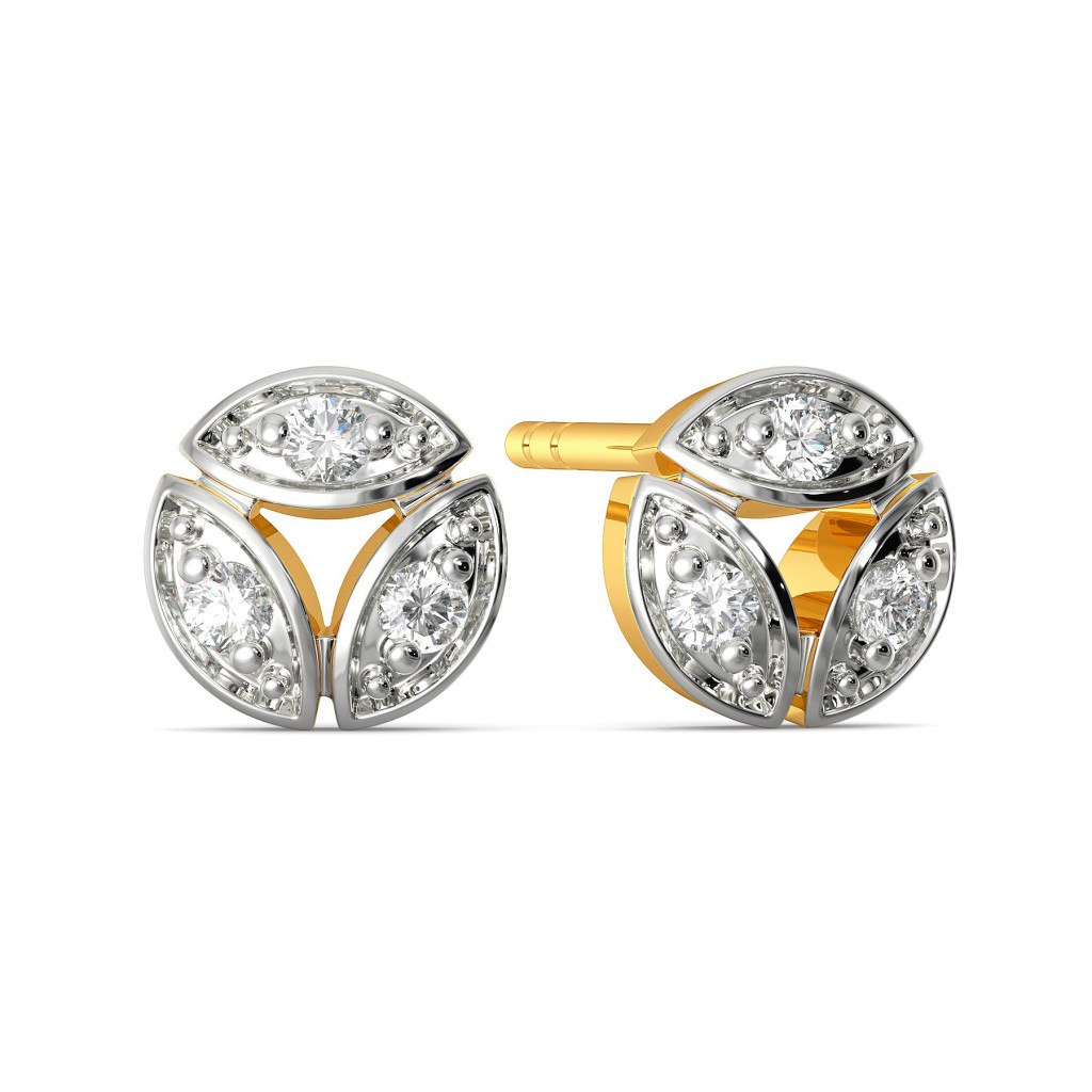 Leafy Trinity Diamond Earrings