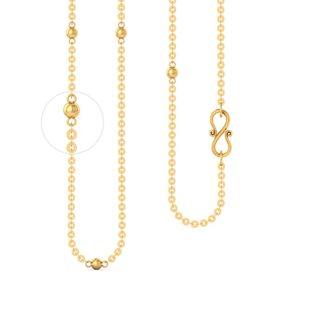 22k Round anchor chain with balls Gold Chains