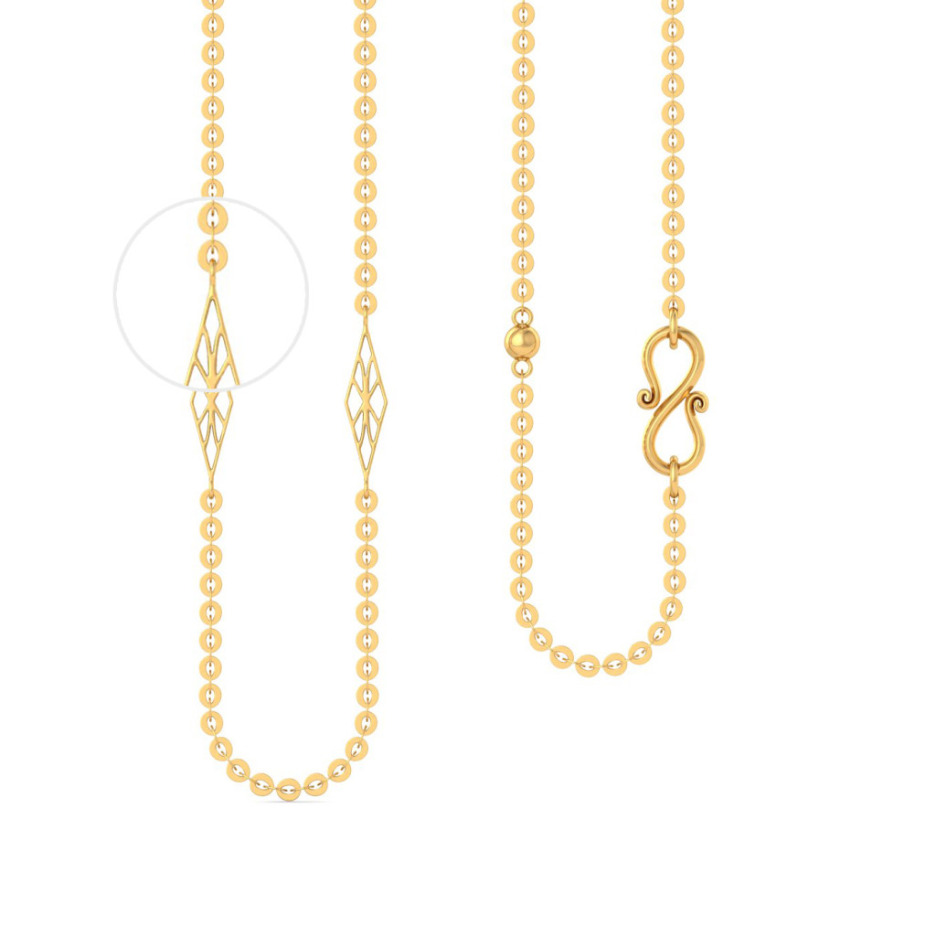 22kt Round Anchor with geometric beads Gold Chains