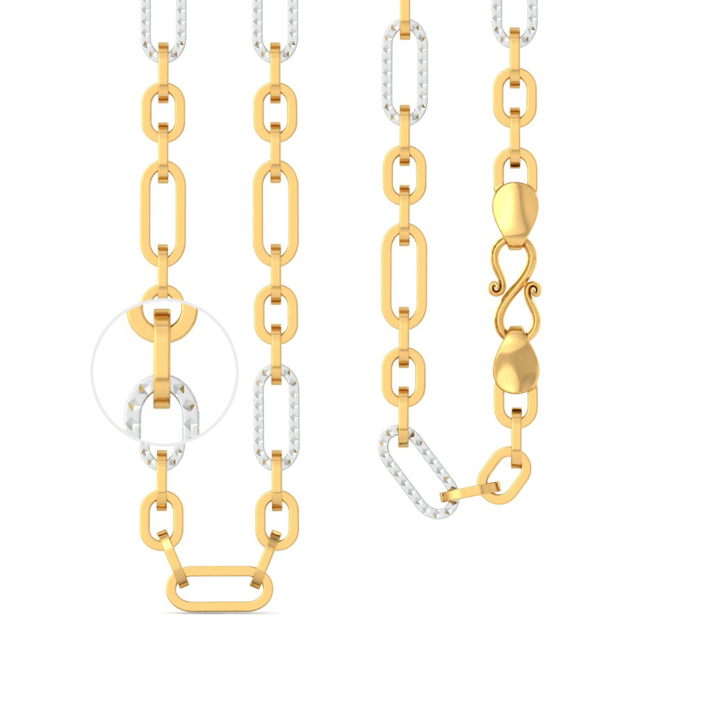 22k Two tone Dual Oval Link chain with Rhodium plated Gold Chains