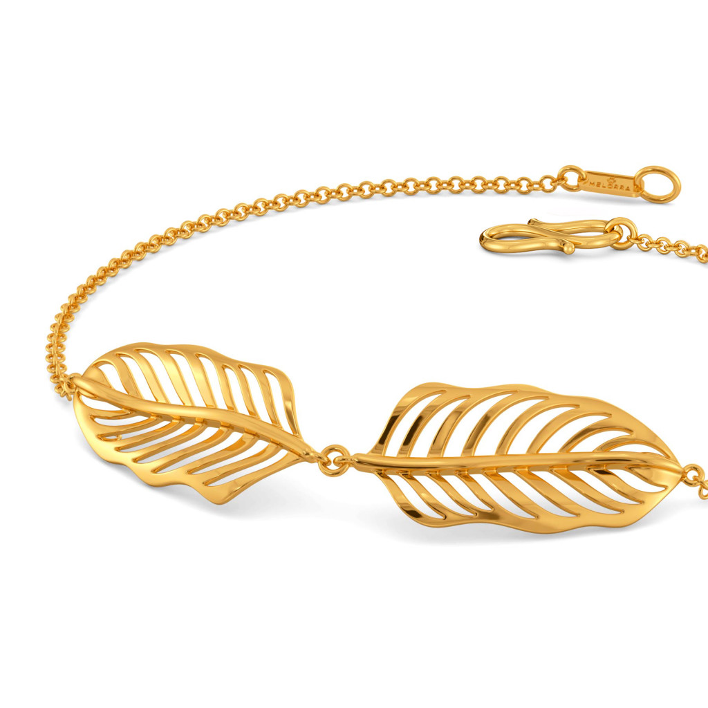 Twin A Feather Gold Bracelets