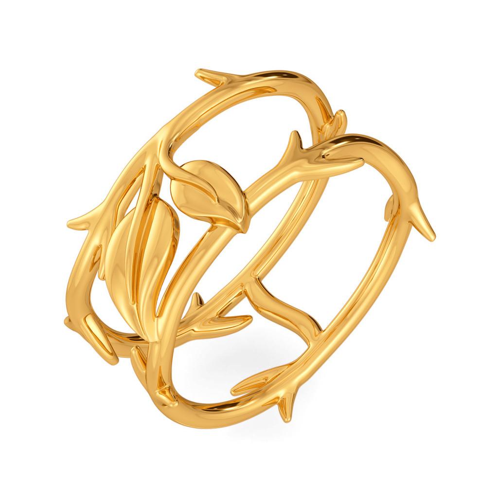 Rose Folioles  Gold Rings