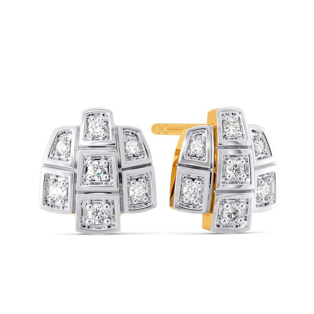 Blanket Checks Diamond Earrings