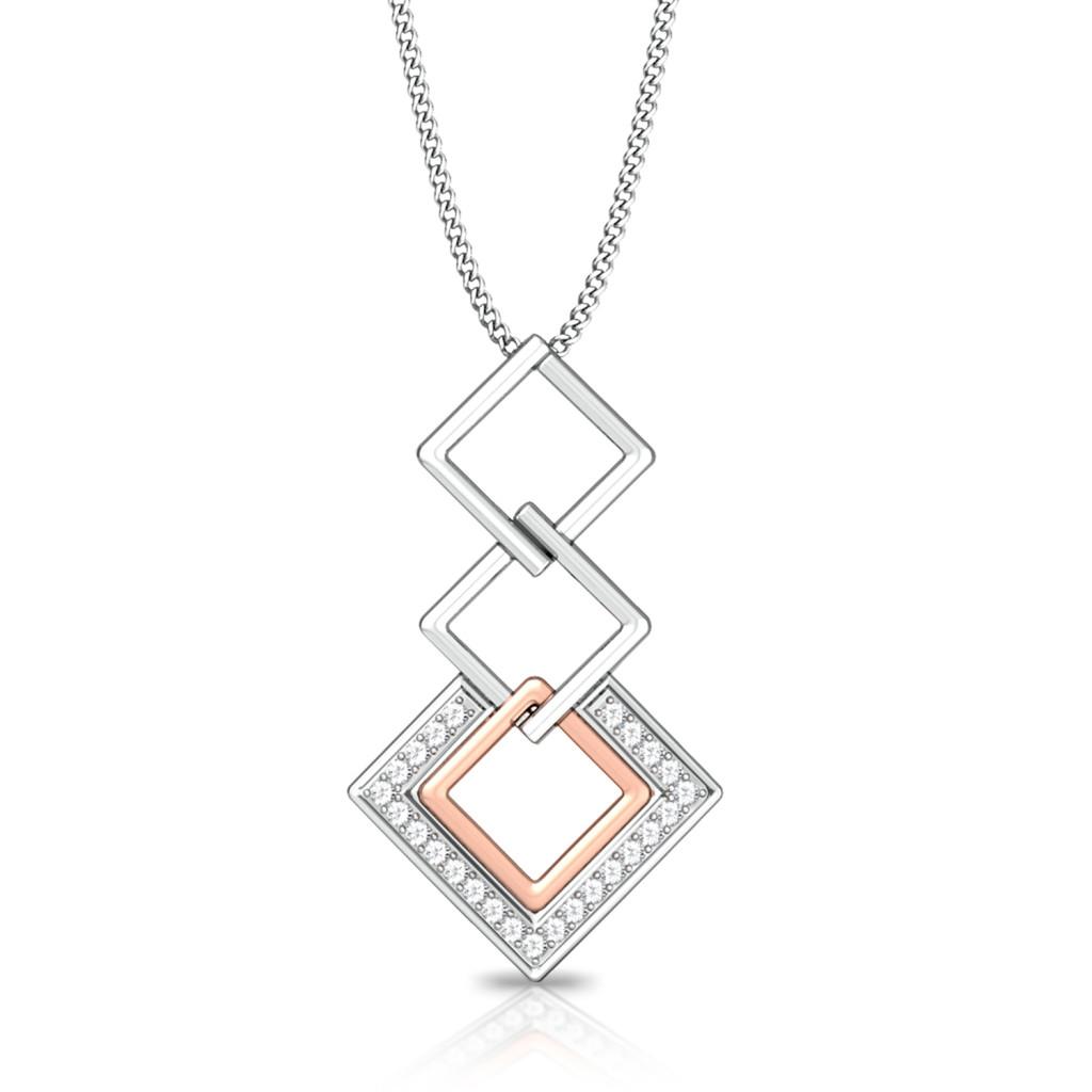 Square Interlock Diamond Pendants