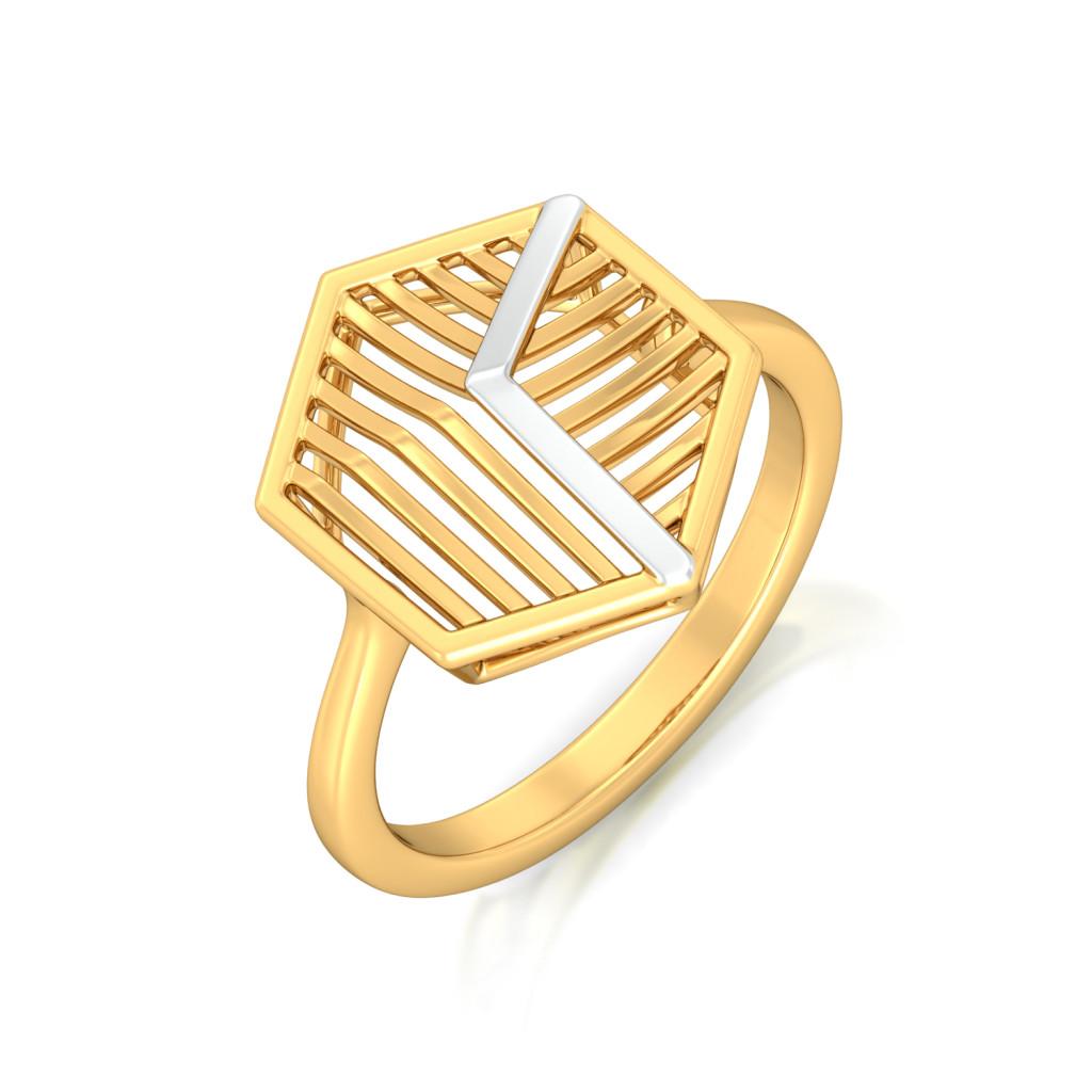 Hexa-Face Gold Rings