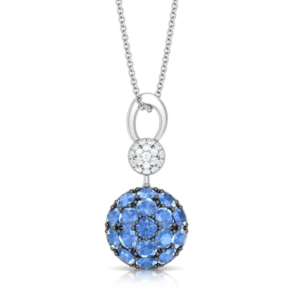 Blue Orb Diamond Pendants
