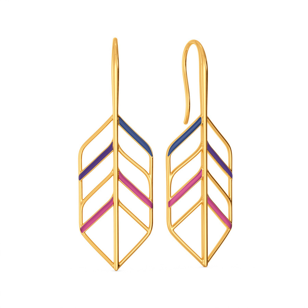 Feather Hues Gold Earrings