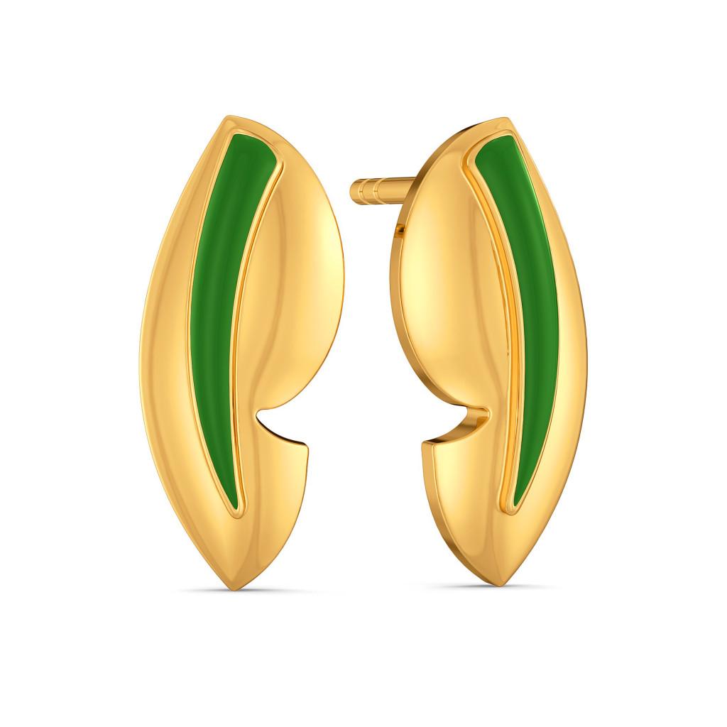Green Preen Gold Earrings