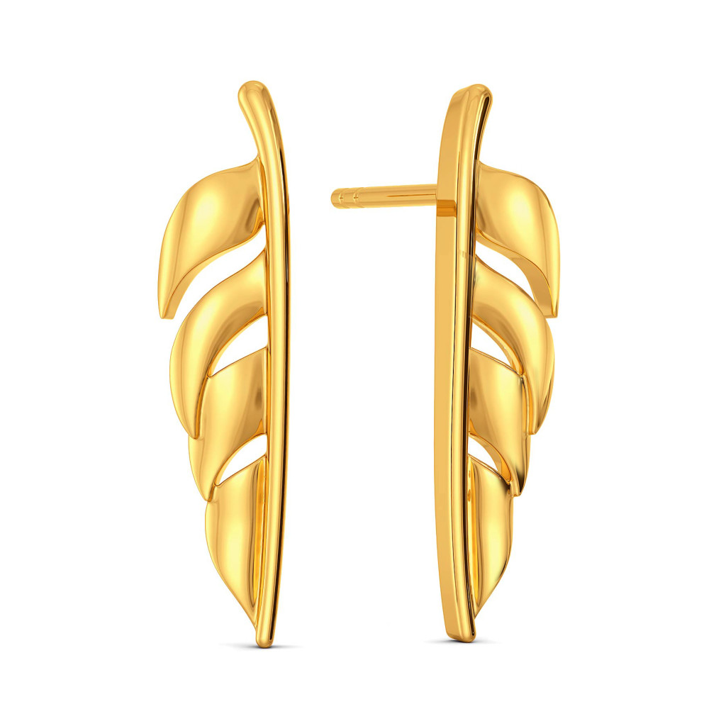 Flick A Feather Gold Earrings