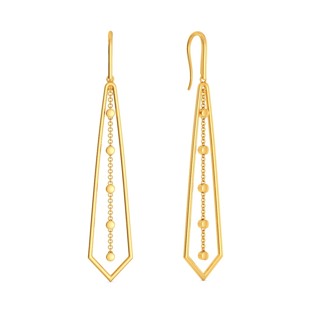 Dangle Angle Gold Earrings