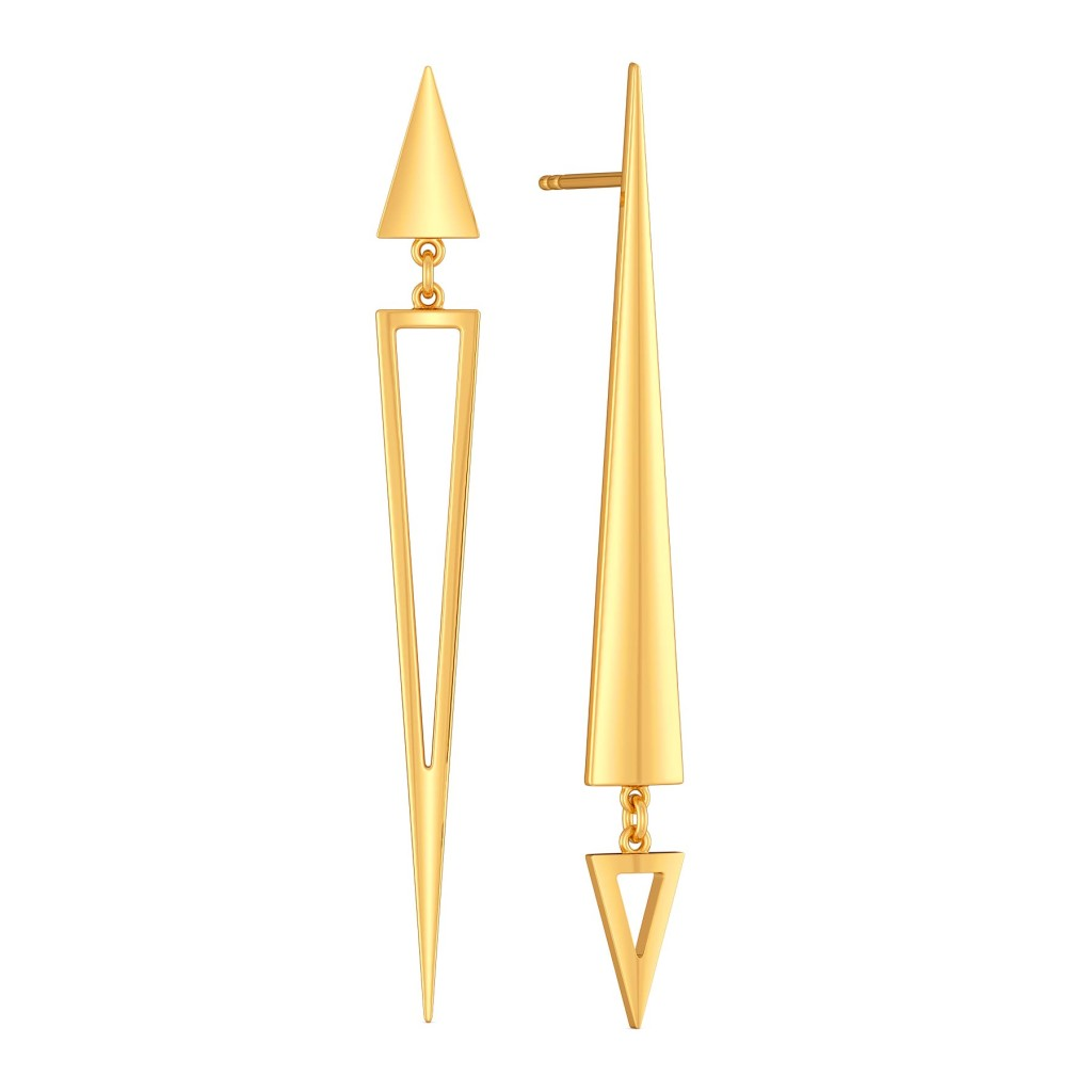 Lopsided Droops Gold Earrings