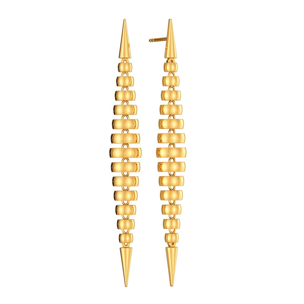 Shoulder Drop Gold Earrings