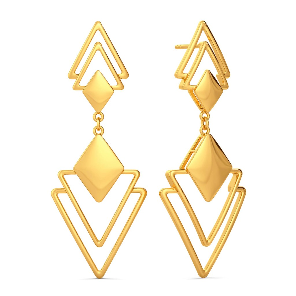 Triangle Trinks Gold Earrings