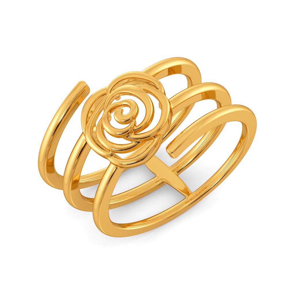 Blazing Blossom Gold Rings