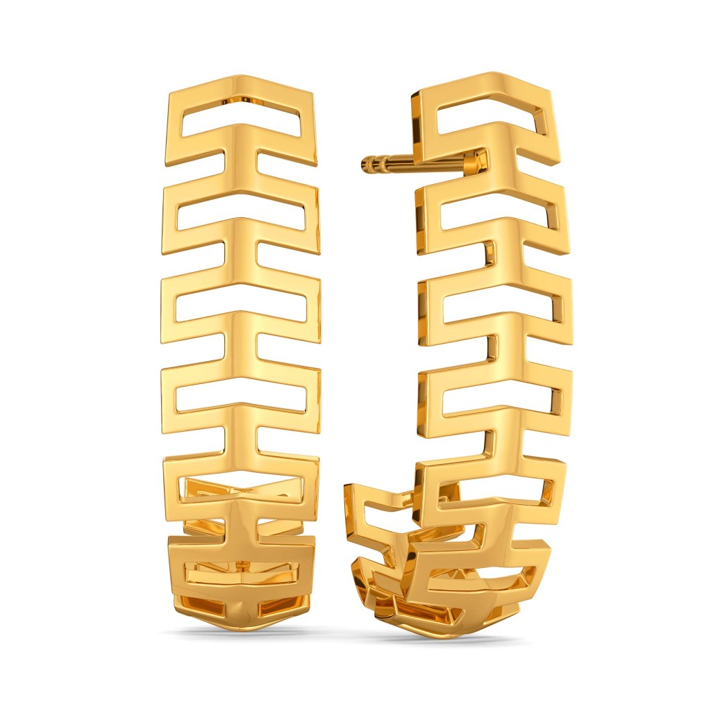 Fancy Folds Gold Earrings