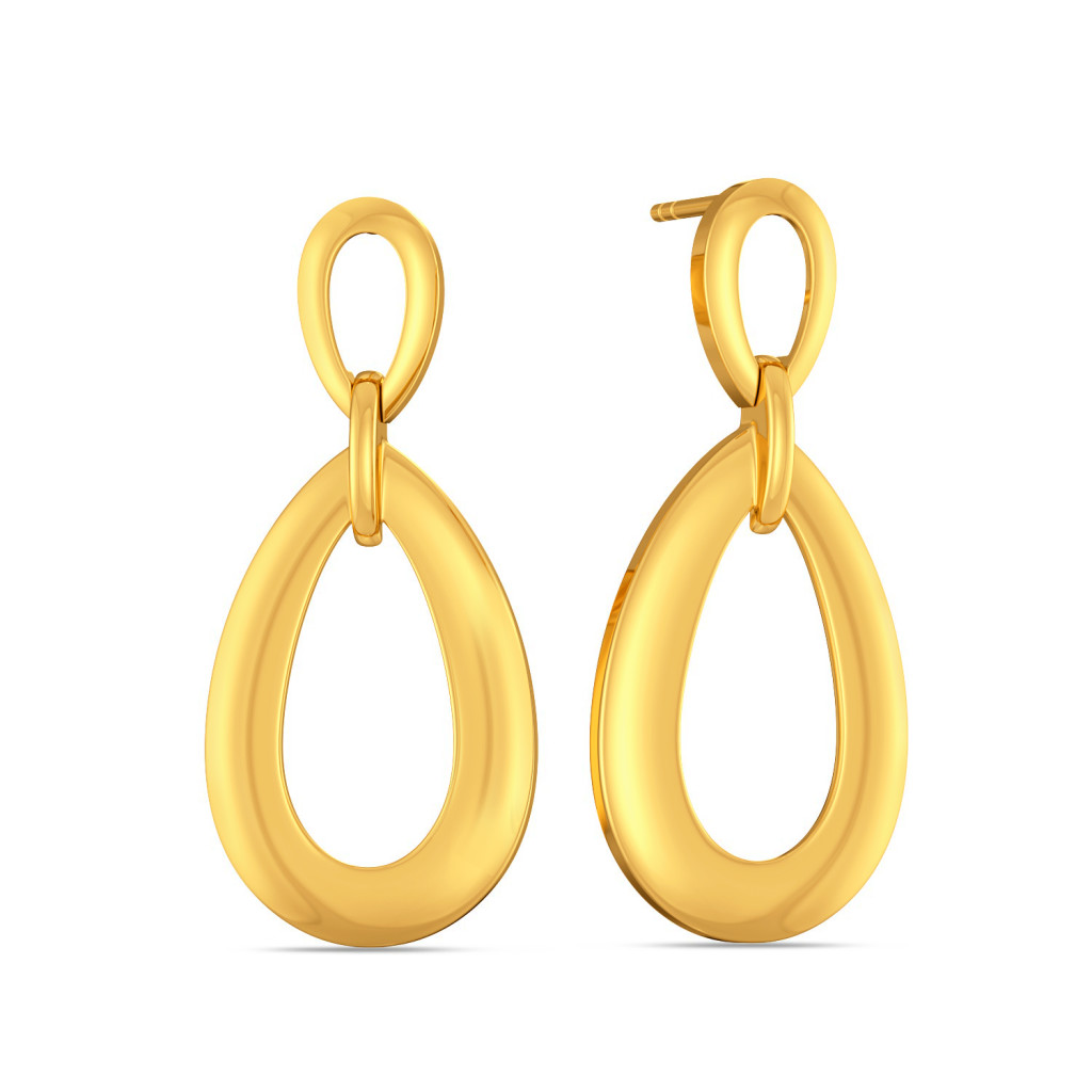 The Top Drop Gold Earrings
