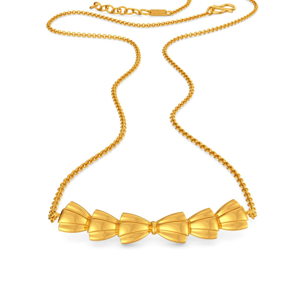 Bold Folds Gold Necklaces