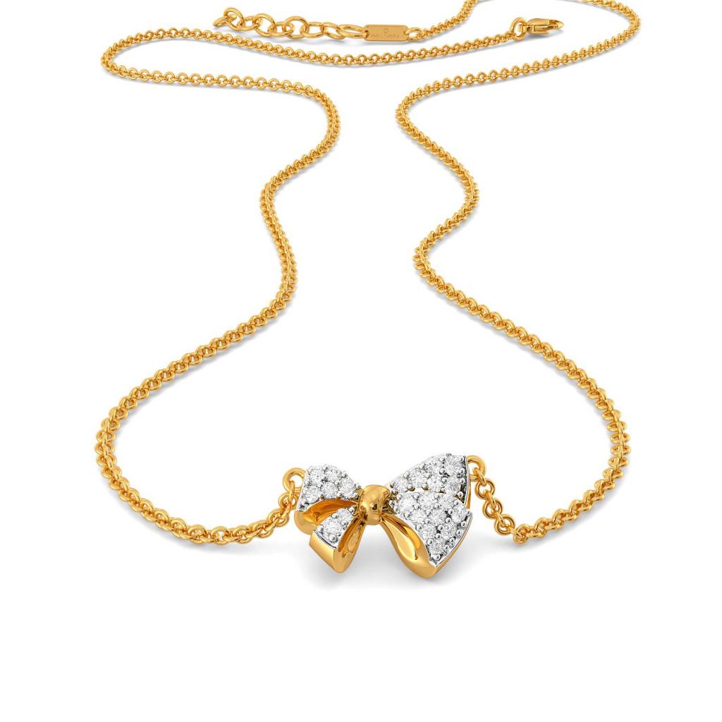 Swirly Bows Diamond Necklaces