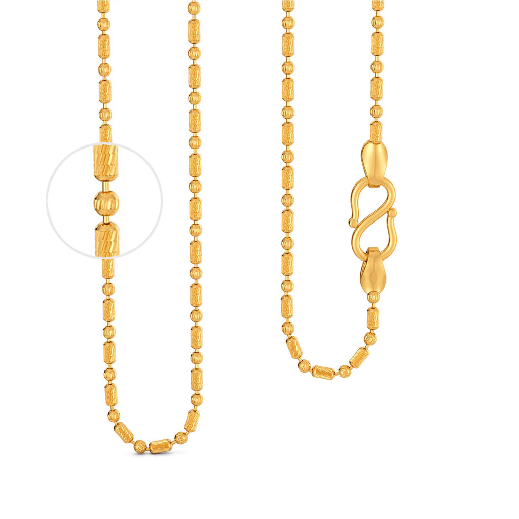 22kt Beaded Ball Chain Gold Chains