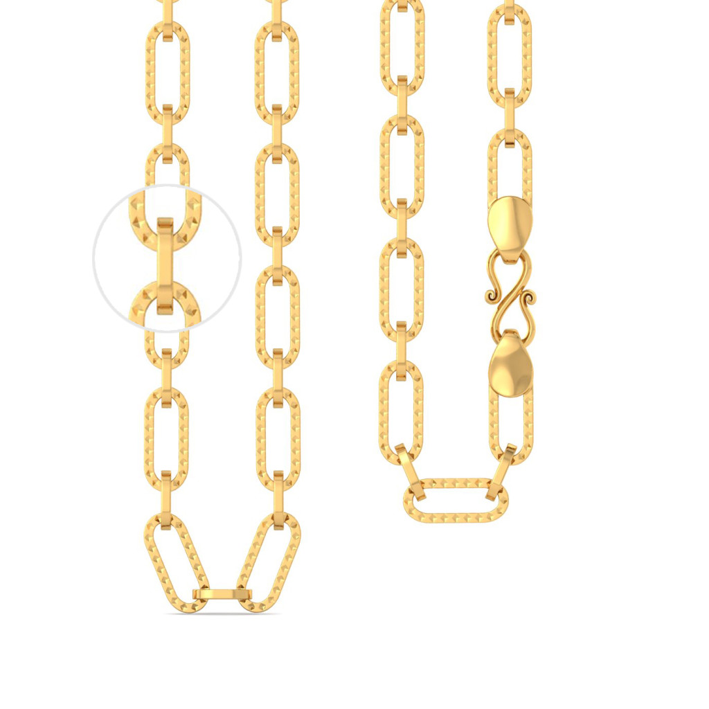 22kt Interlocked Textured Oval Chain Gold Chains