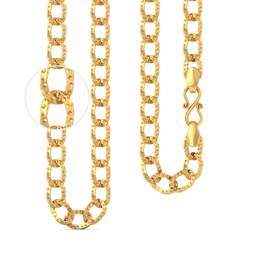22kt Large Link Curb Textured Chain Gold Chains