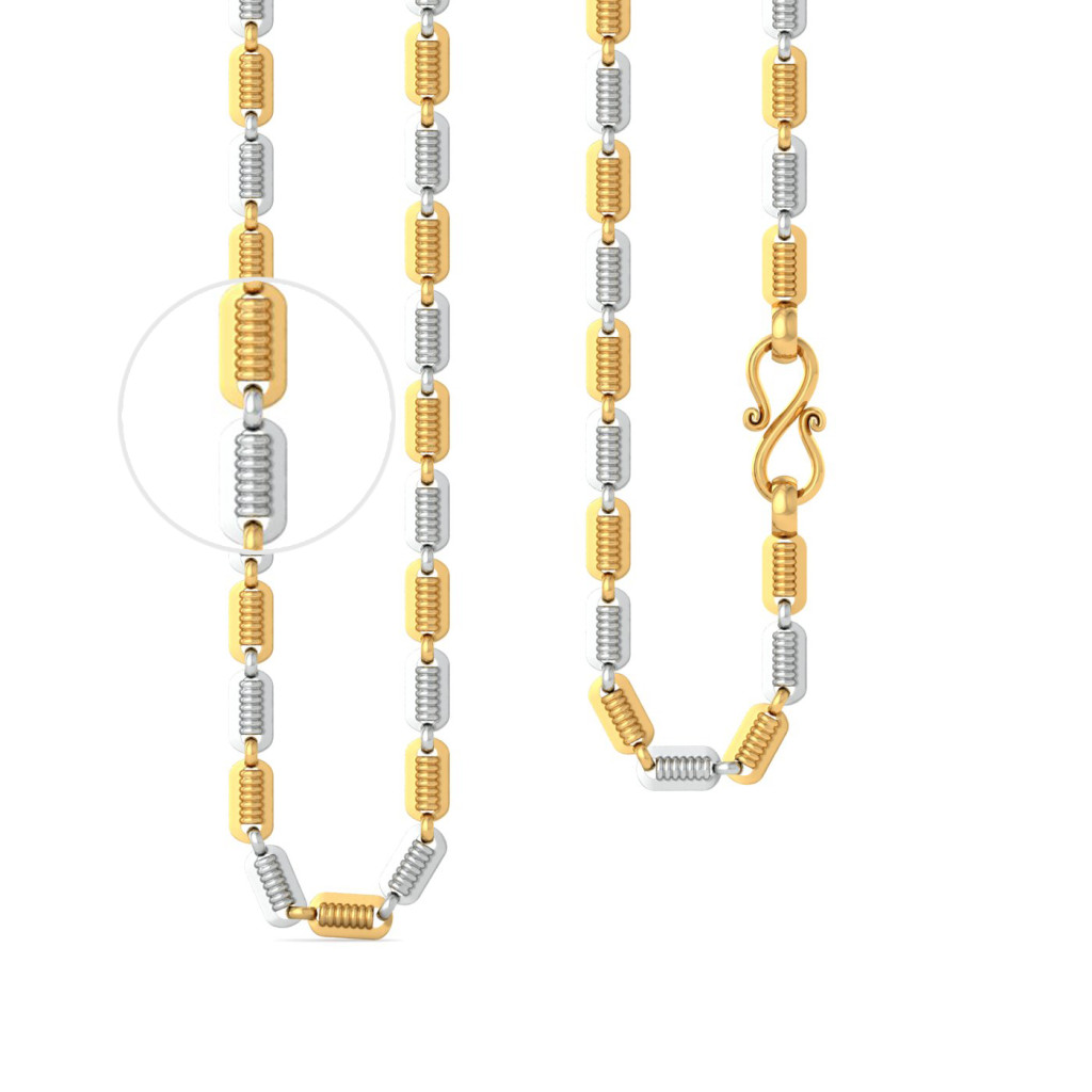 22kt Peas in a Pod Rhodium Plated Link Chain Gold Chains