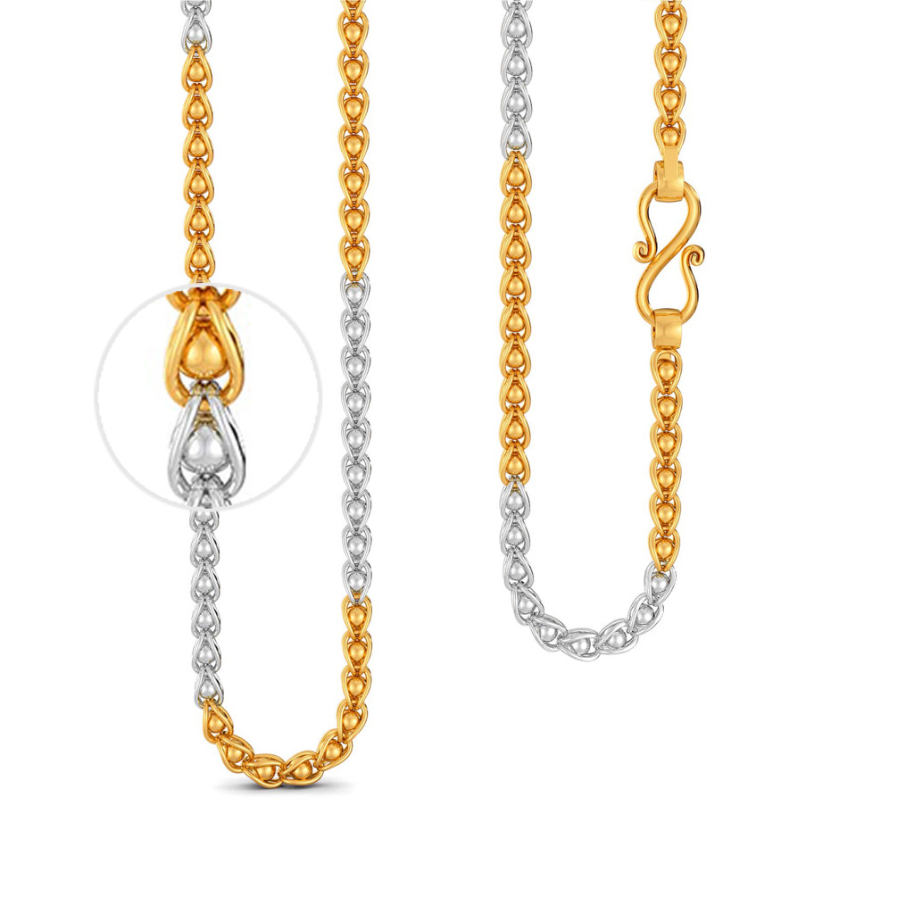 22kt Two Tone Caged Bead Link Chain Gold Chains