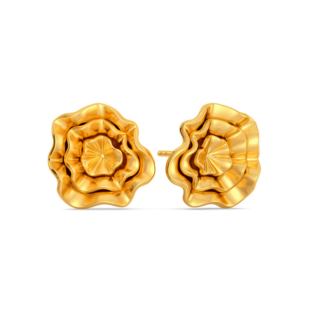 Curvy Cascades Gold Earrings