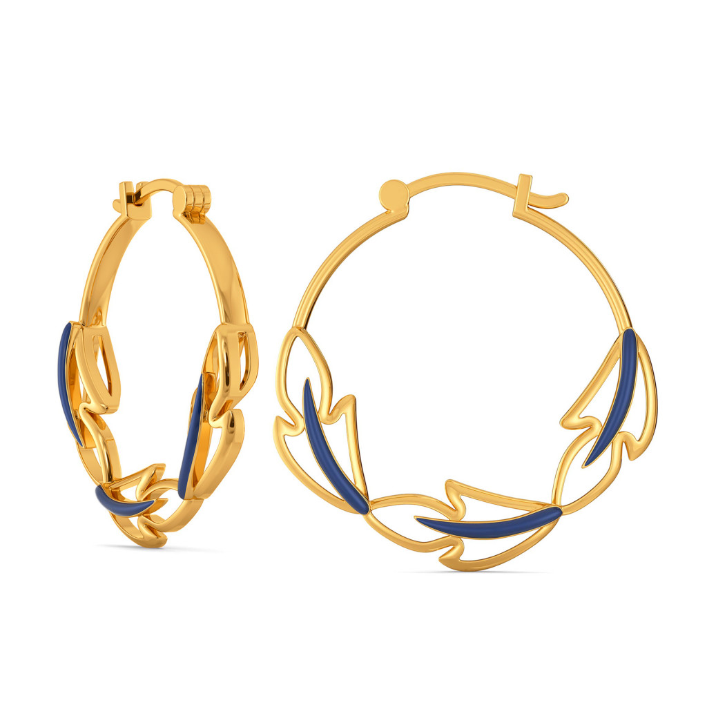 Blue Plumes Gold Earrings