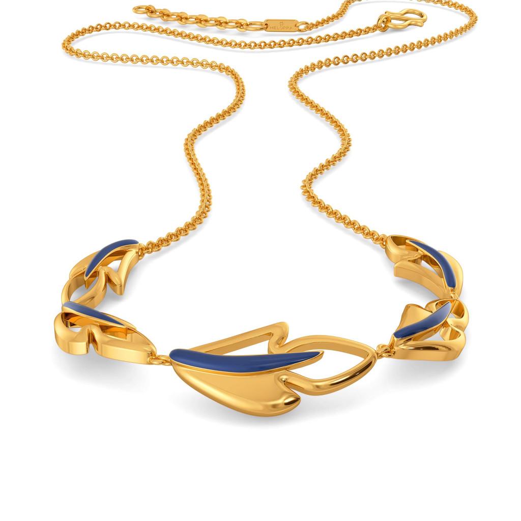Blue Plumes Gold Necklaces