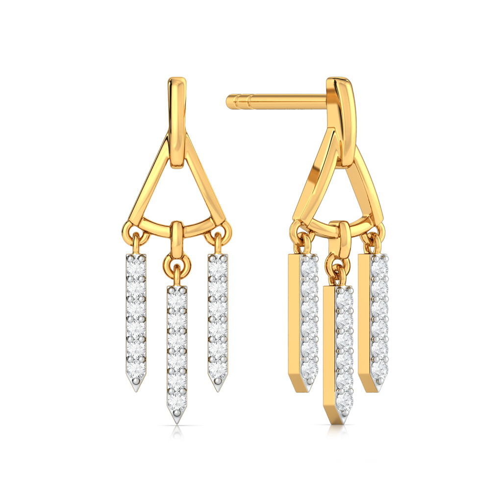 Trigon Frills Diamond Earrings