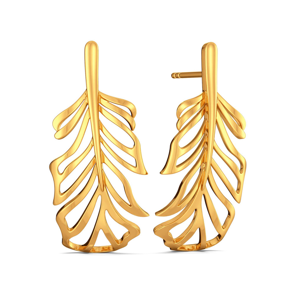 Flirty Feathers Gold Earrings