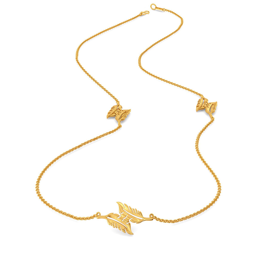 Fancy A Feather Gold Necklaces