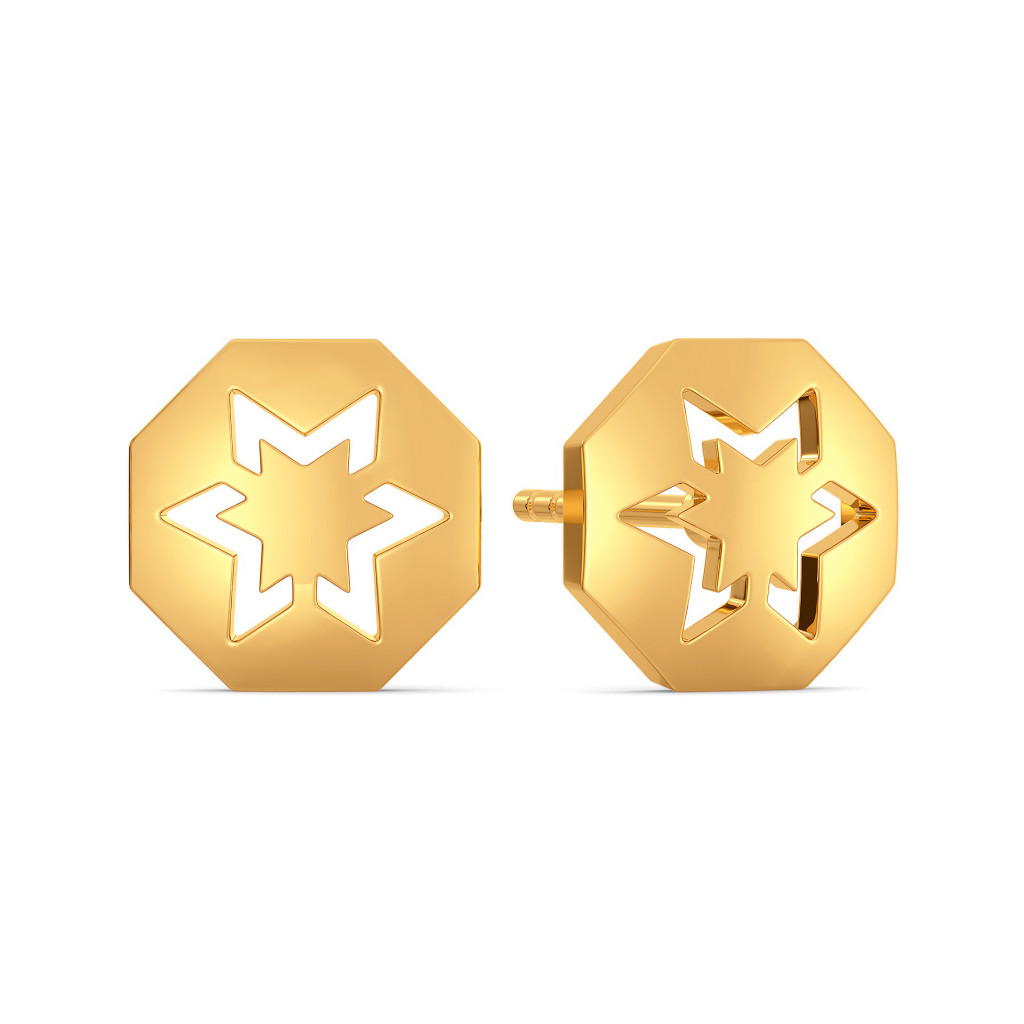 Star Streaks Gold Earrings