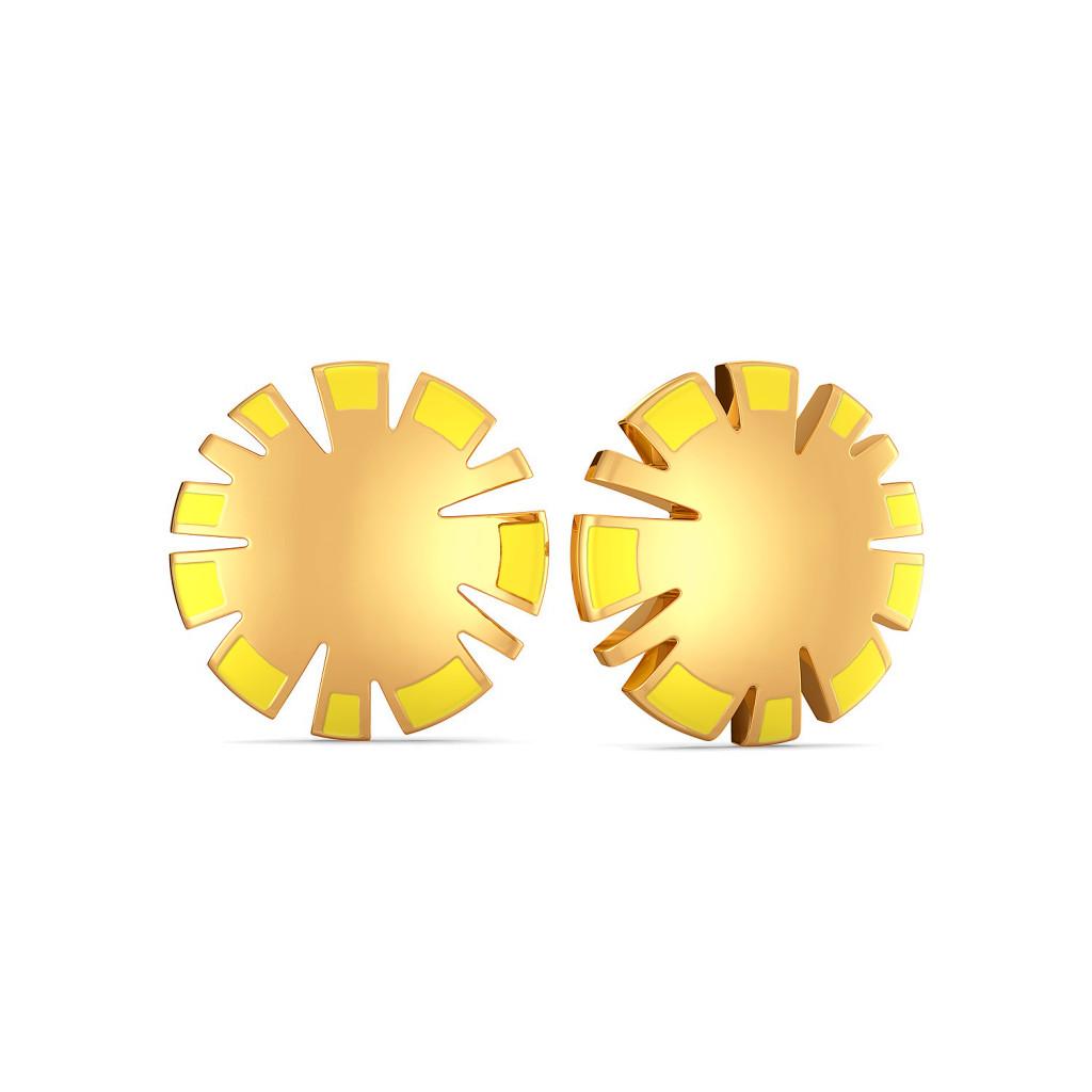 Slice of Pine Gold Earrings