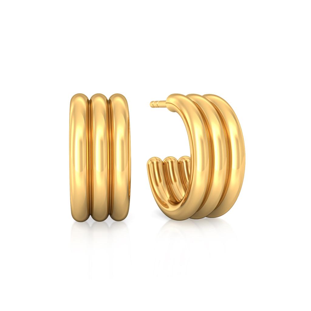 Triple Trifle  Gold Earrings