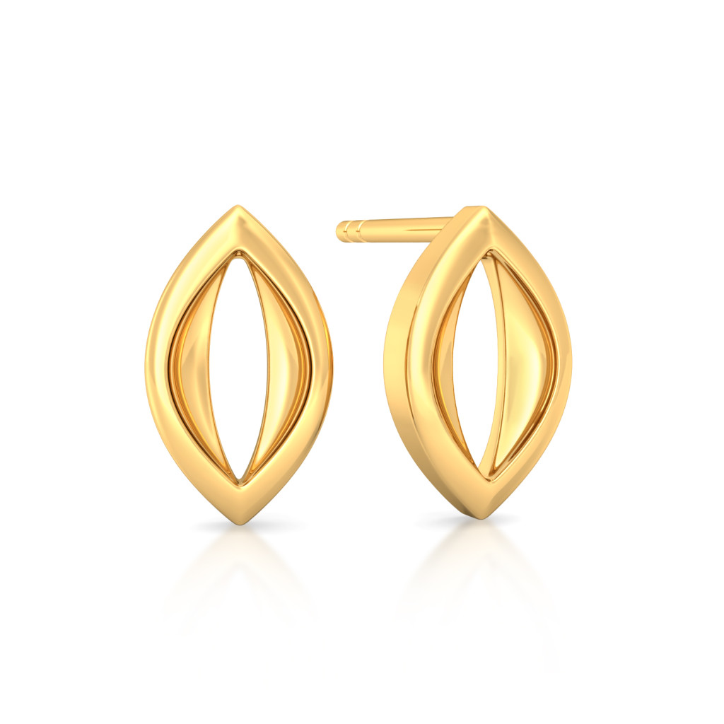 Cryptical Elliptical Gold Earrings