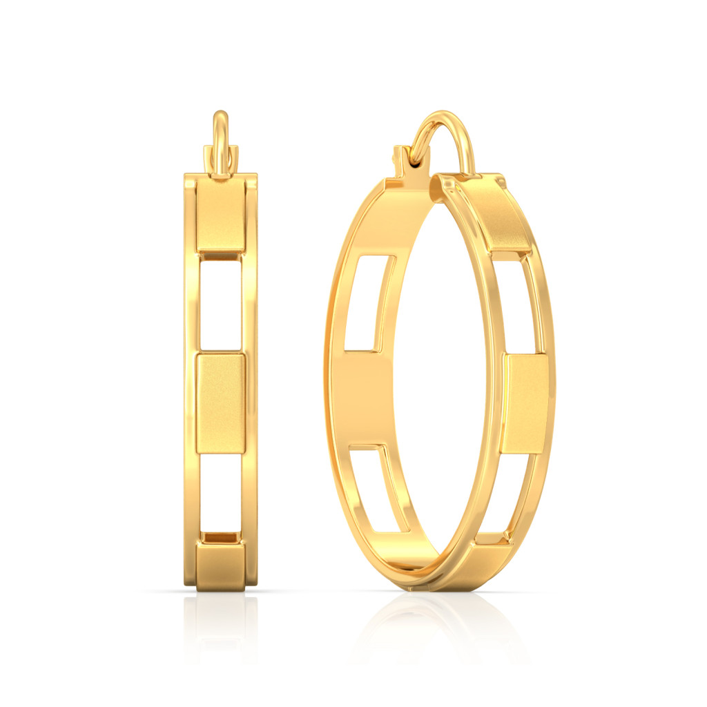Bar Pattern Gold Earrings