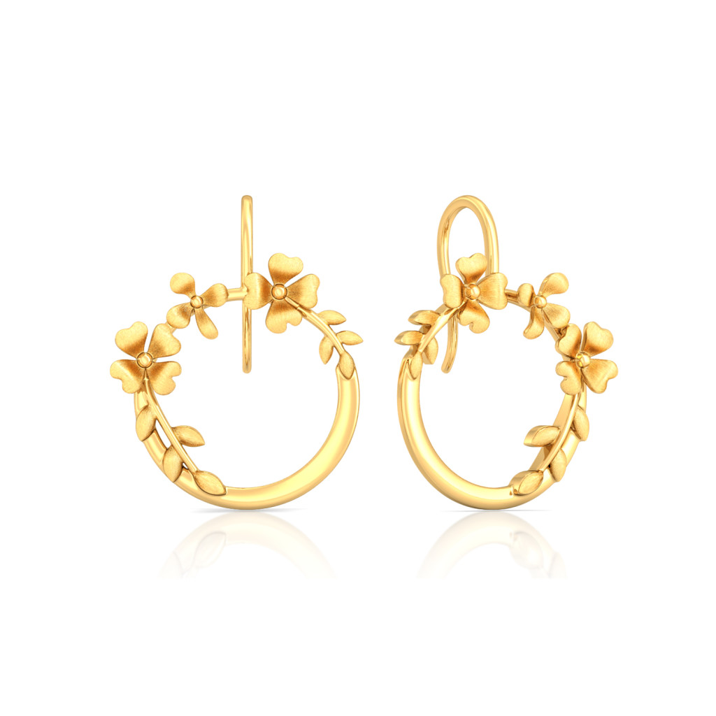 Floral Crown Gold Earrings