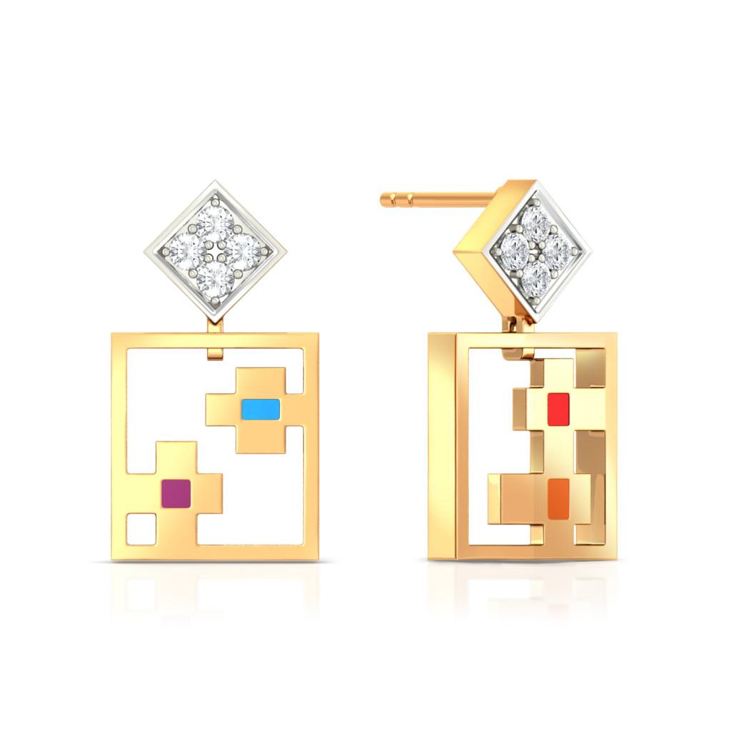 Pixel maze Diamond Earrings