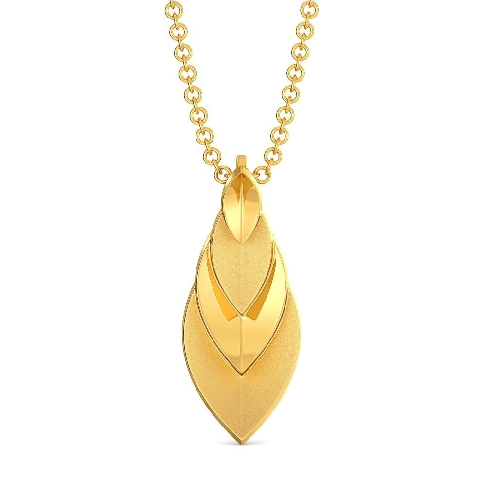 The Leaf Crease Gold Pendants