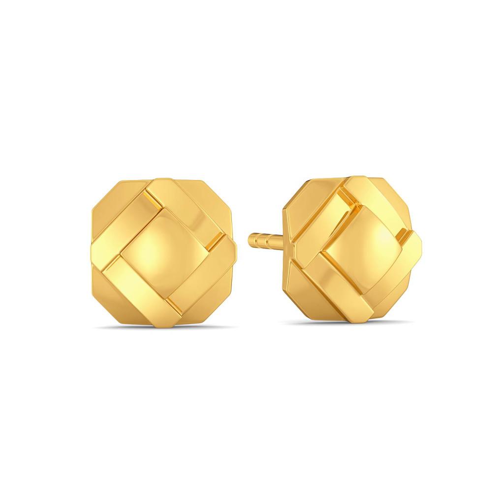 A Pleat Treat Gold Earrings