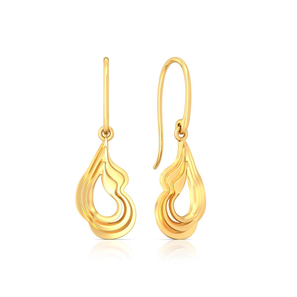 Ripple of Romance Gold Earrings