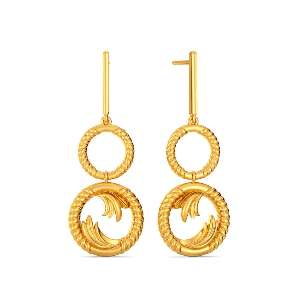Greek Guilloche Gold Earrings