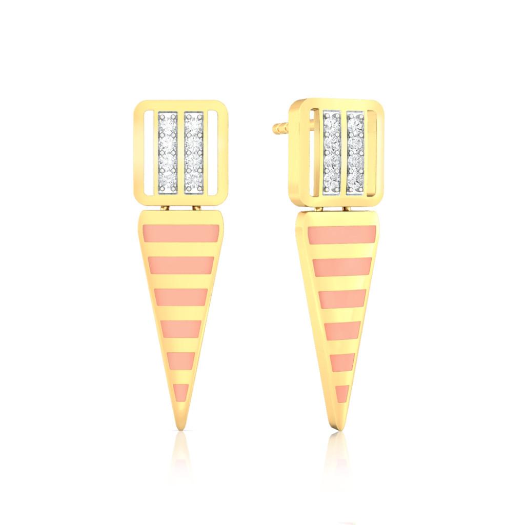 Micro-Striped Diamond Earrings